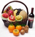 Mid-Autumn Fruits Hamper - 10 types seasonal fruits + 1 bottles red wine F004